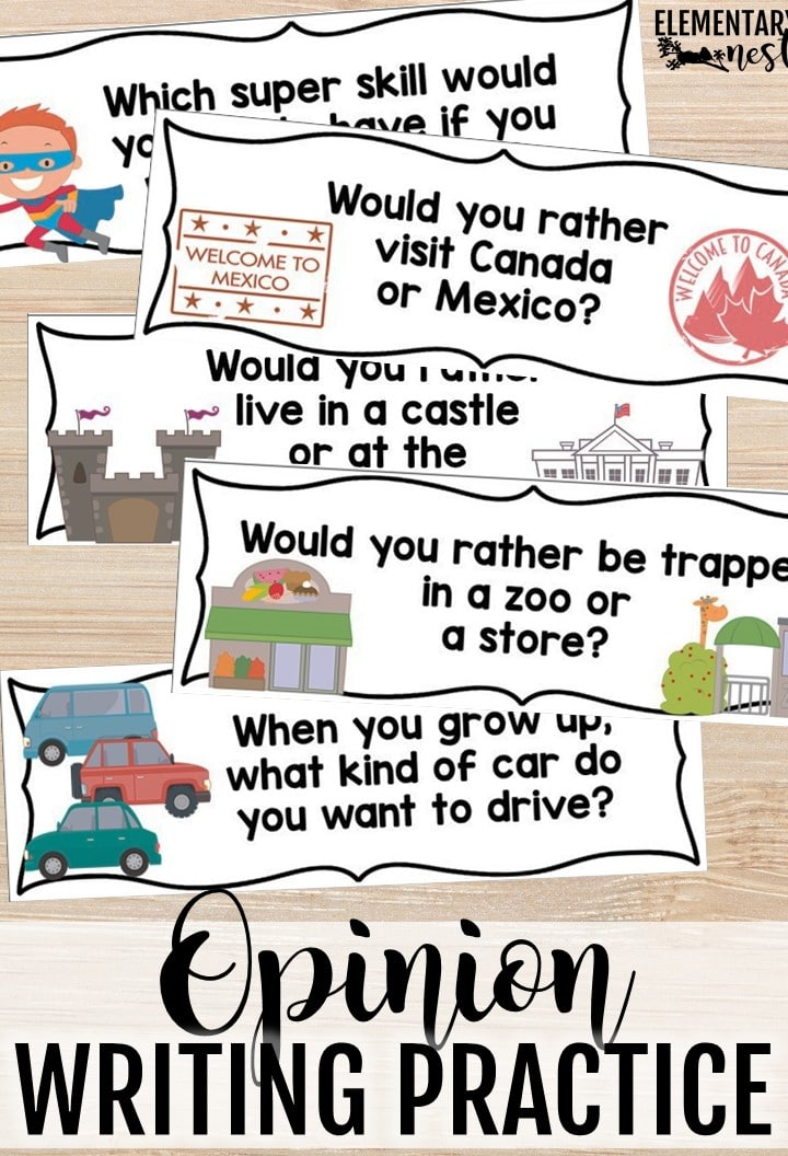 Opinion writing practice for primary students.
