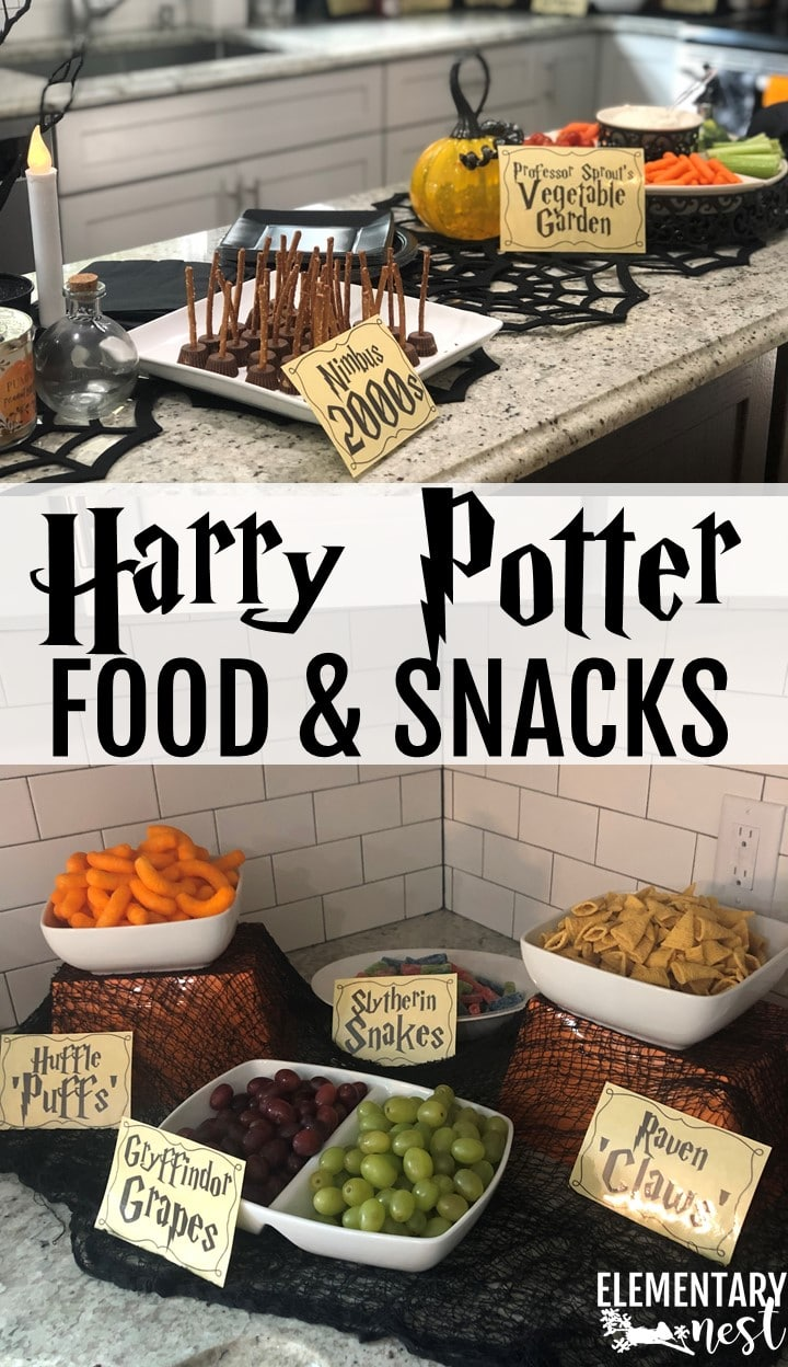 Harry Potter themed snack foods for the classroom.