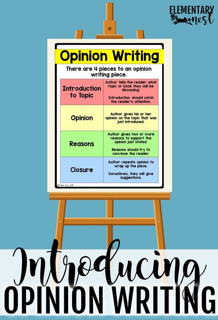 Opinion writing anchor chart- How to teach opinion writing. Tips and tricks for opinion writing activities.