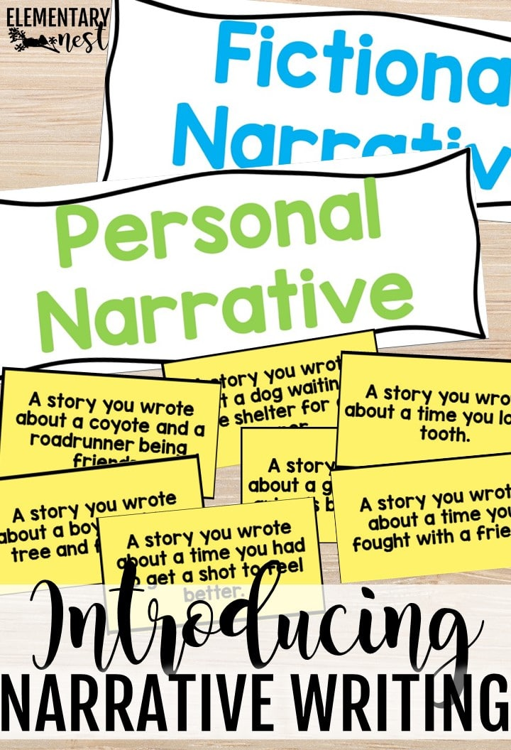 Narrative writing lesson- fictional narrative versus personal narrative.