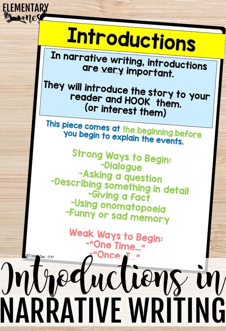Introductions anchor chart for narrative writing.