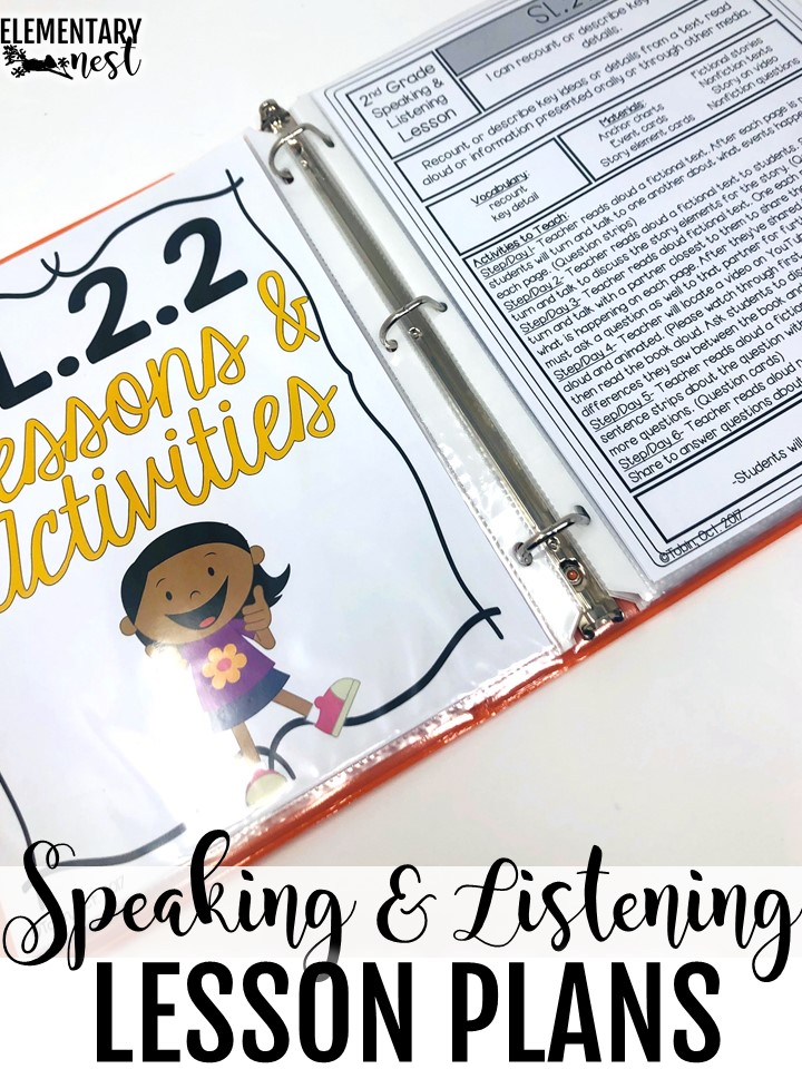 Speaking and listening lesson plans.