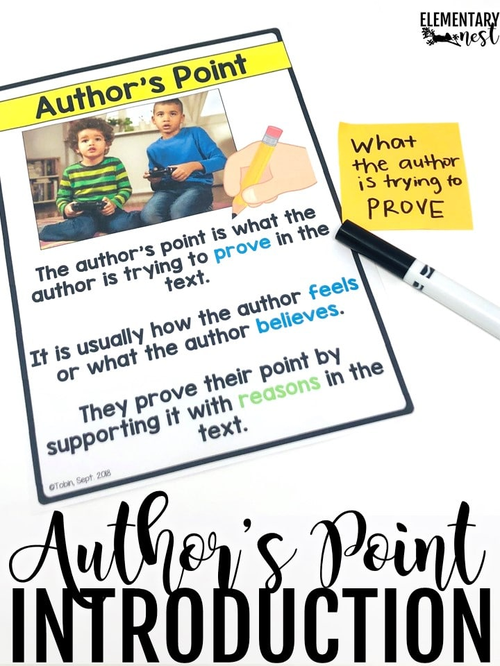 Anchor chart for author's point and reasons, an introduction to author's point.