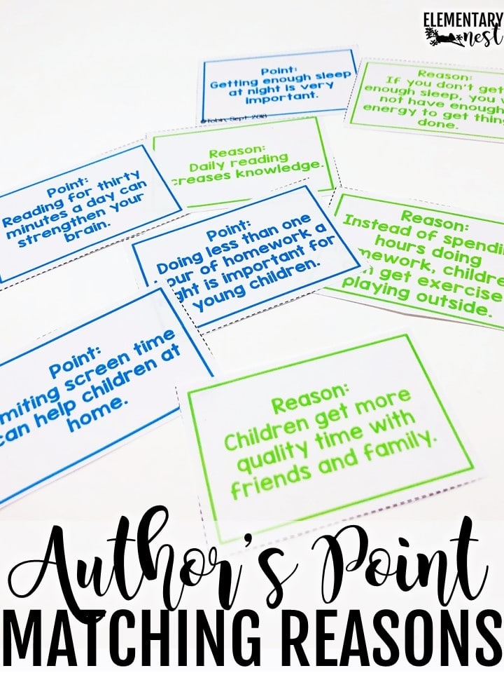 Author's Point and reasons matching activity.