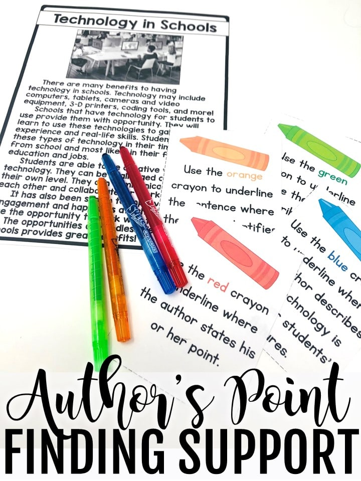 Author's point task card activity. Author's point passage and highlight activity.