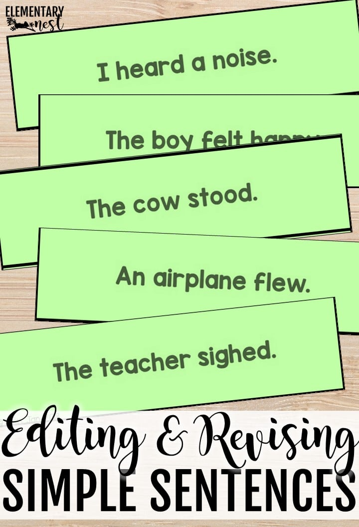 Revising and editing simple sentences activity.