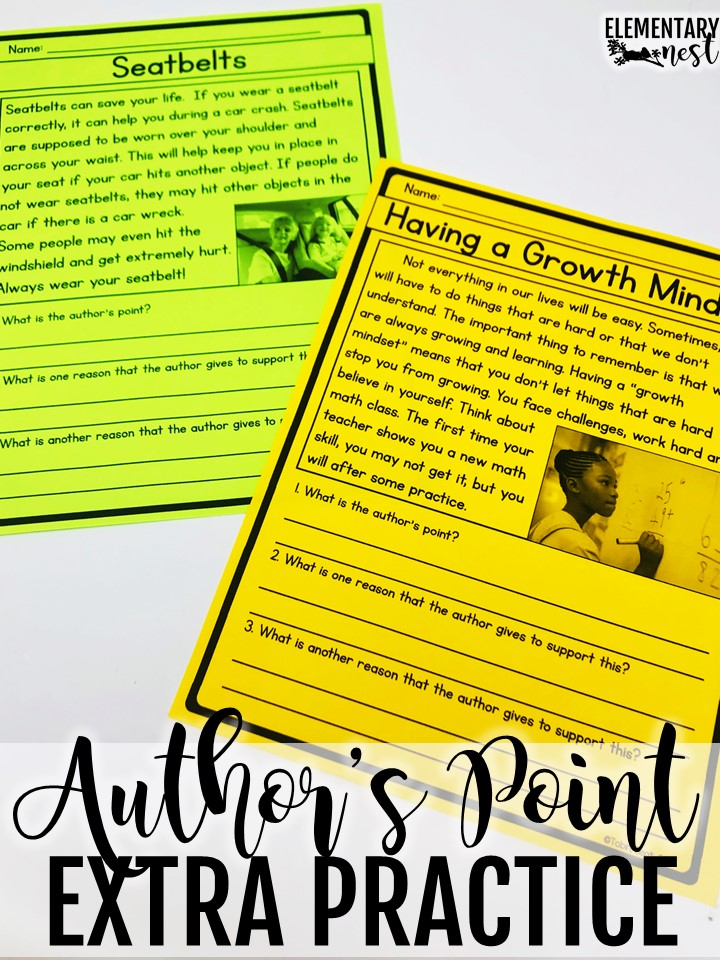 Using passages to support author's points and reasons skills. Author's point extra practice.