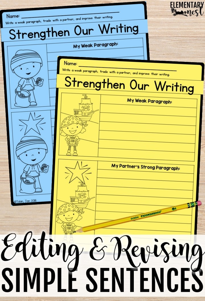 Revising and editing worksheets. Simple sentence activity.