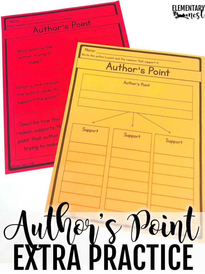 Author's Point and Reasons Graphic Organizers. Using graphic organizers to find author's point and reasons.