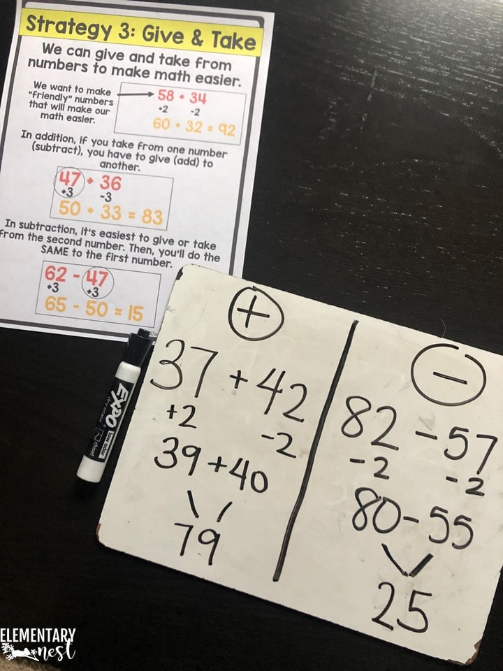 Give-and-take method- 2-digit addition strategies and 2-digit subtraction strategies.