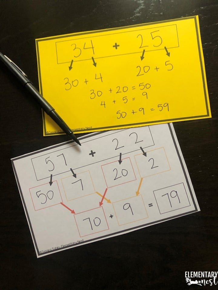 Break apart method (or expanded form)- 2-digit addition strategies and 2-digit subtraction strategies.