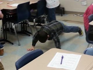 Pushups in class.