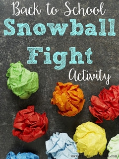 Back to school snowball fight activity.