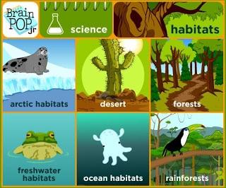BrainPop Jr. videos for teaching habitats in the primary classroom.