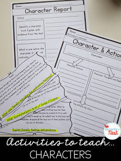Story Elements: Activities to teach characters- educational ideas for characters, setting, events, problem and solution, and more. Hands-on ideas for a first grade, second grade, and third grade classroom.
