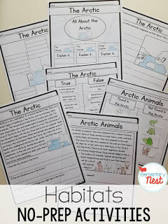 Habitat Activities and Lesson Ideas - hands-on crafts for kids and reading comprehension for a 1st and 2nd grade habitat science unit study.