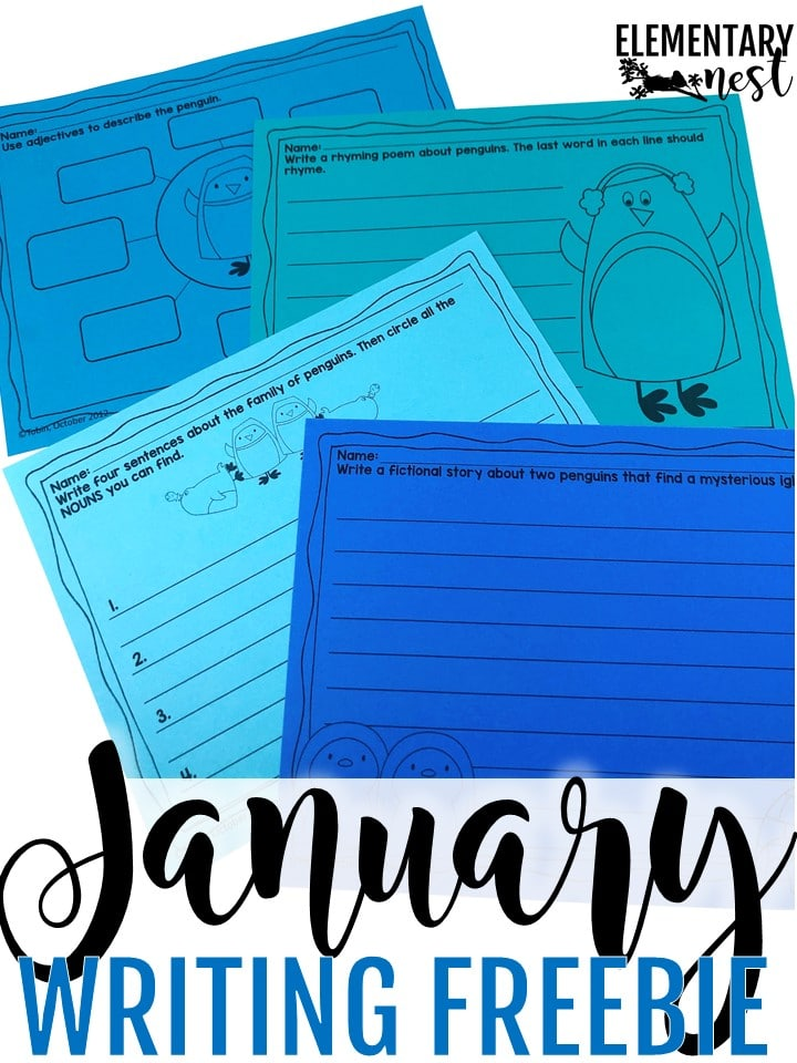 Free penguin-themed writing activity- January Activities and winter primary resources.