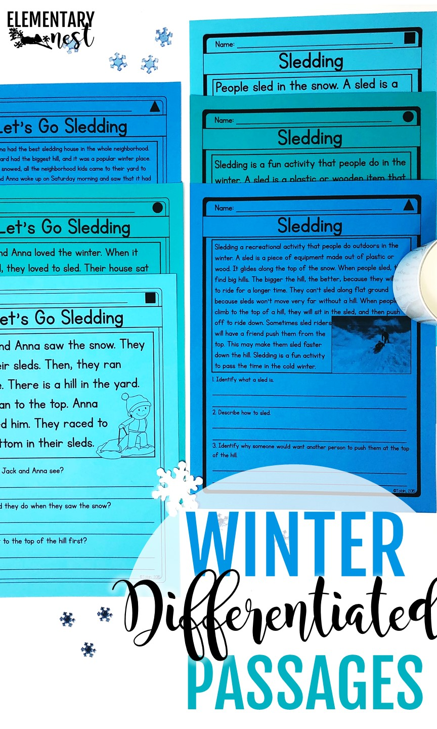 Differentiated reading passages for winter- January Activities and winter primary resources.