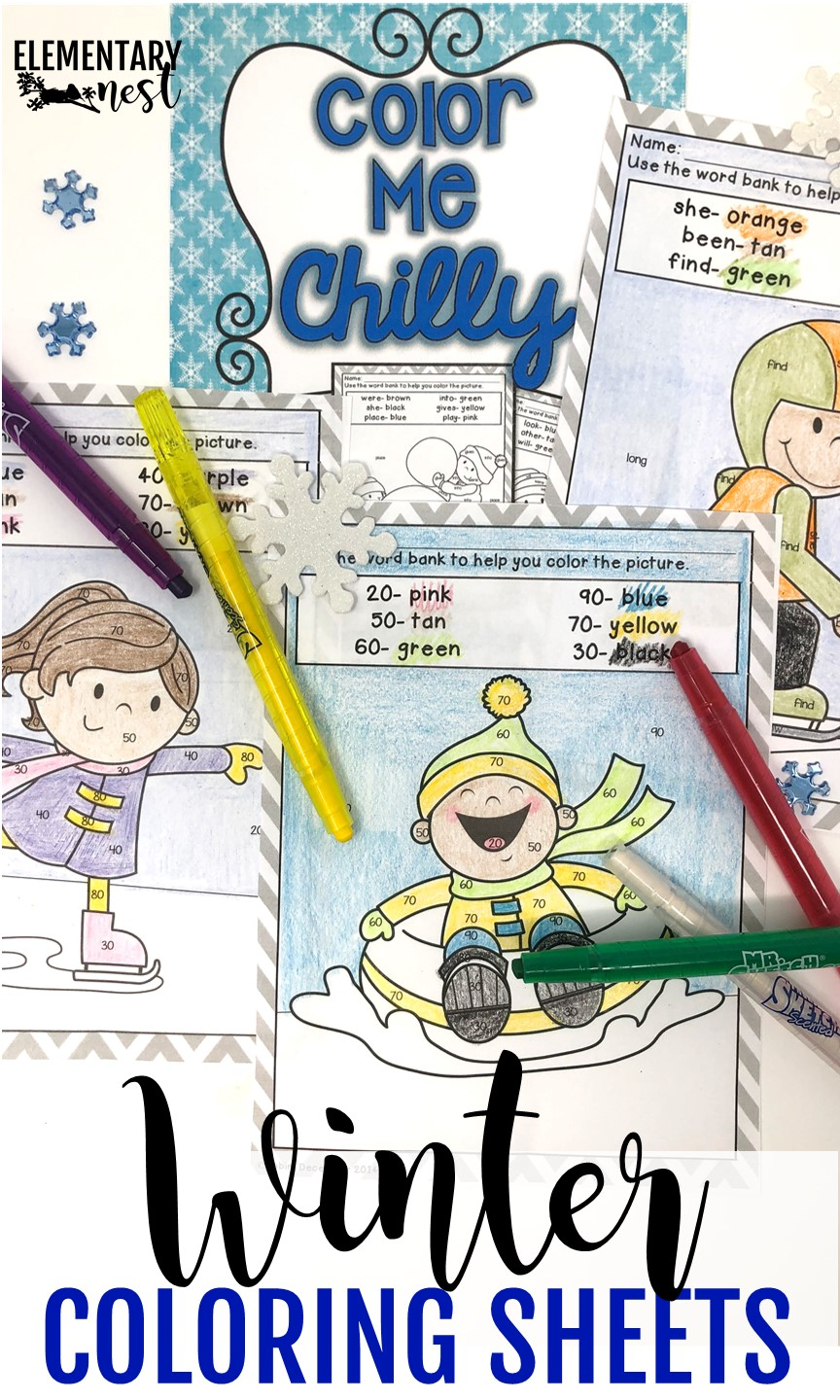 Winter-themed coloring sheets for elementary students.