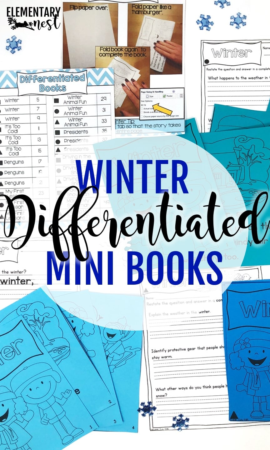 Winter-themed differentiated reading books for teaching primary school.