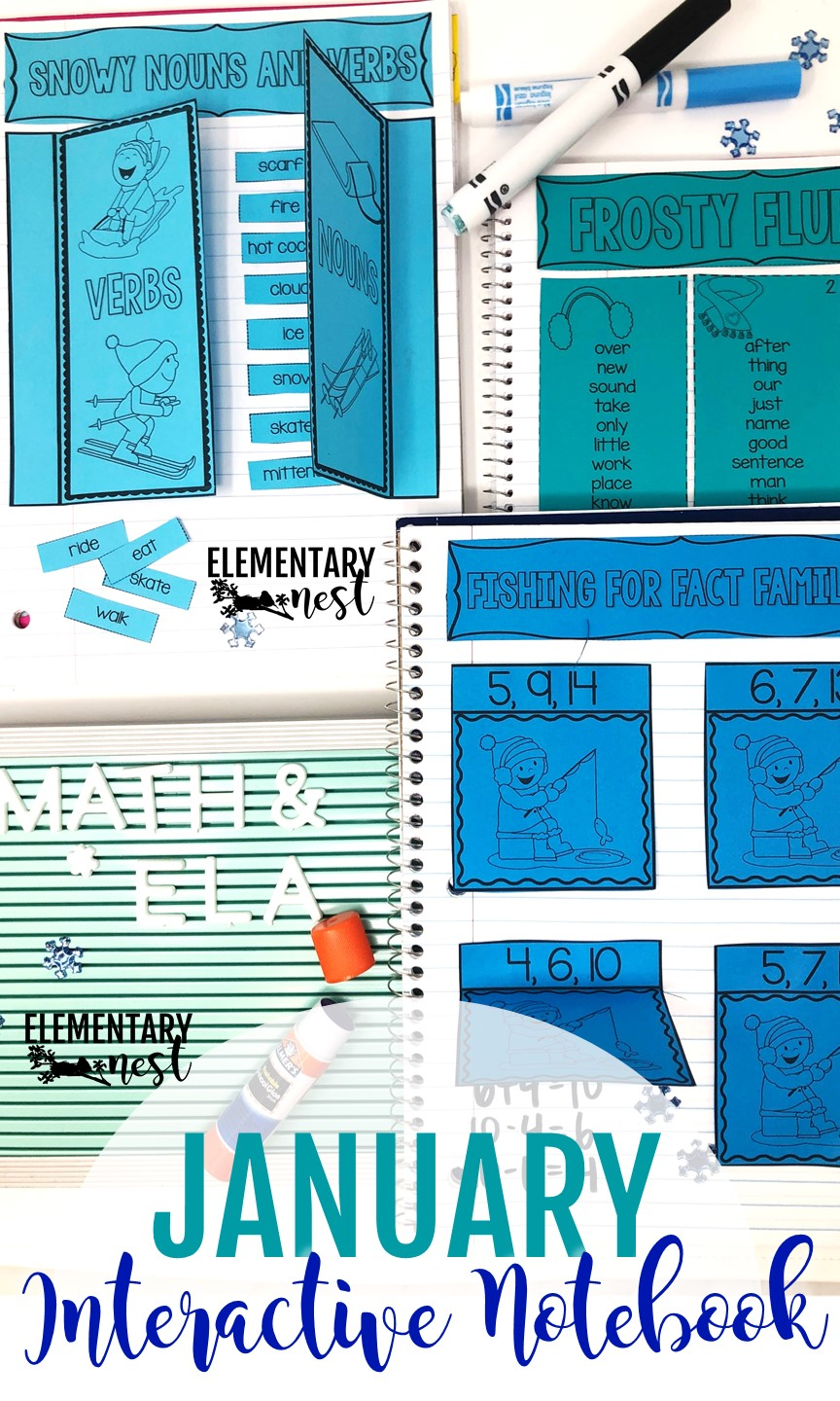 January interactive notebook activity for teaching kids.