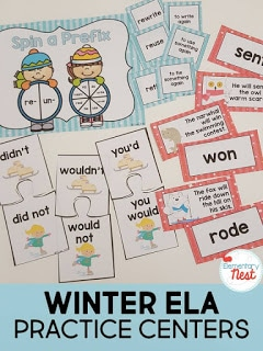 Winter-themed ELA practice centers - January Resources for K-3.