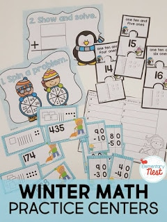 Winter math practice centers for kids.