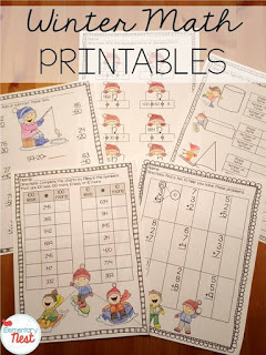 Winter math printables or worksheets for teaching kids.