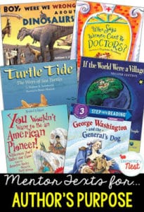 Mentor texts for authors purpose.