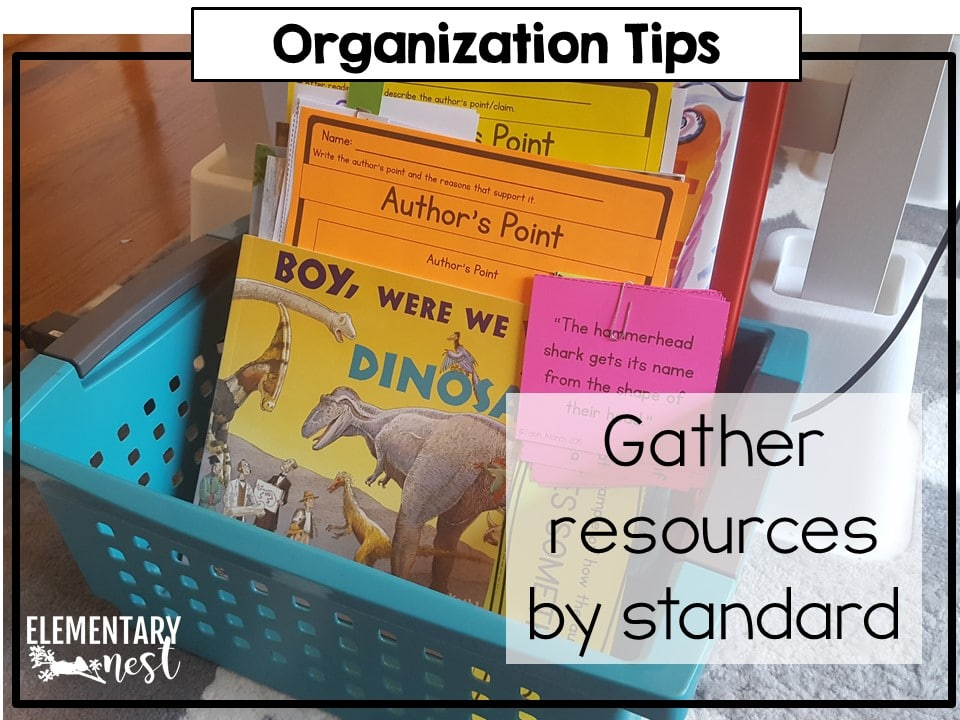 Organizing reading and writing materials for your ELA block. How to gather resources by standard.
