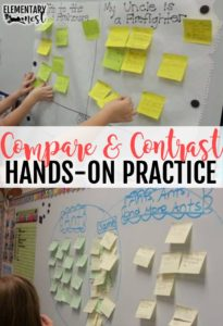 Hands on practice for comparing and contrasting topics.