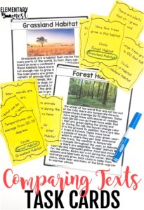 Compare and contrast with two texts and task cards.