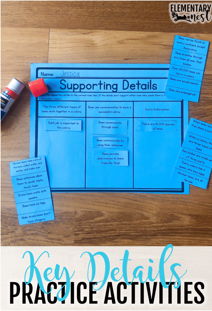 Supporting details cut and paste activity