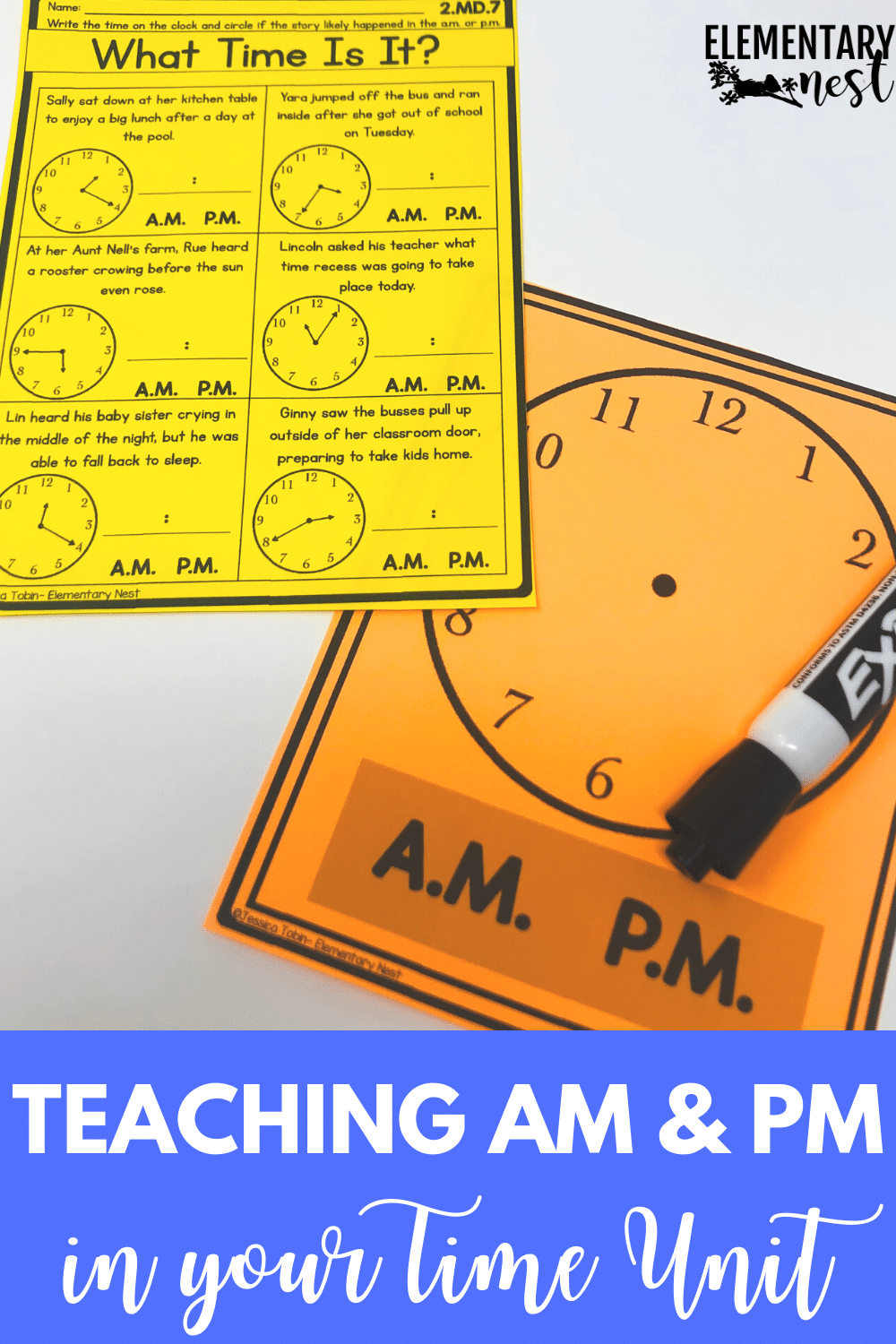 Telling time with A.M. or P.M word problem activity with dry-erase clock