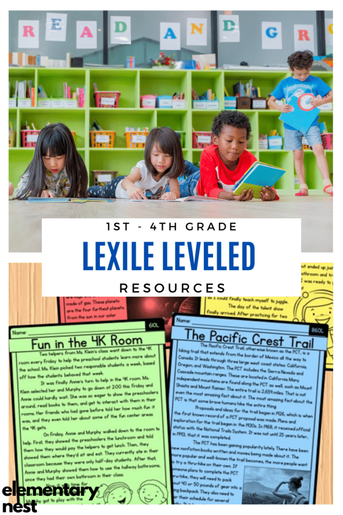 Blog post about Lexile Reading Levels and resources for 1st-4th grades