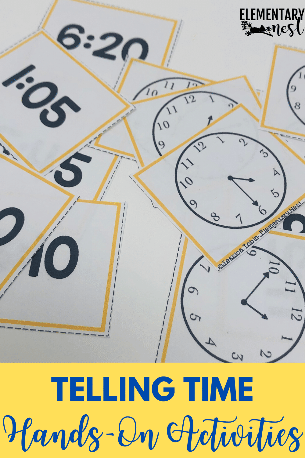 Telling time clock cards with digital and analog clocks