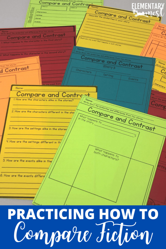 Compare and contrast fiction texts activity sheets