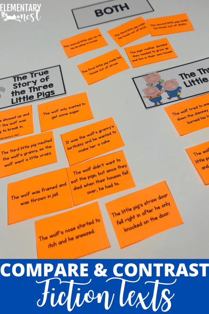 Sorting activity for students to practice comparing and contrasting fiction texts
