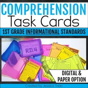 1st Grade INFORMATIONAL Comprehension Task Cards