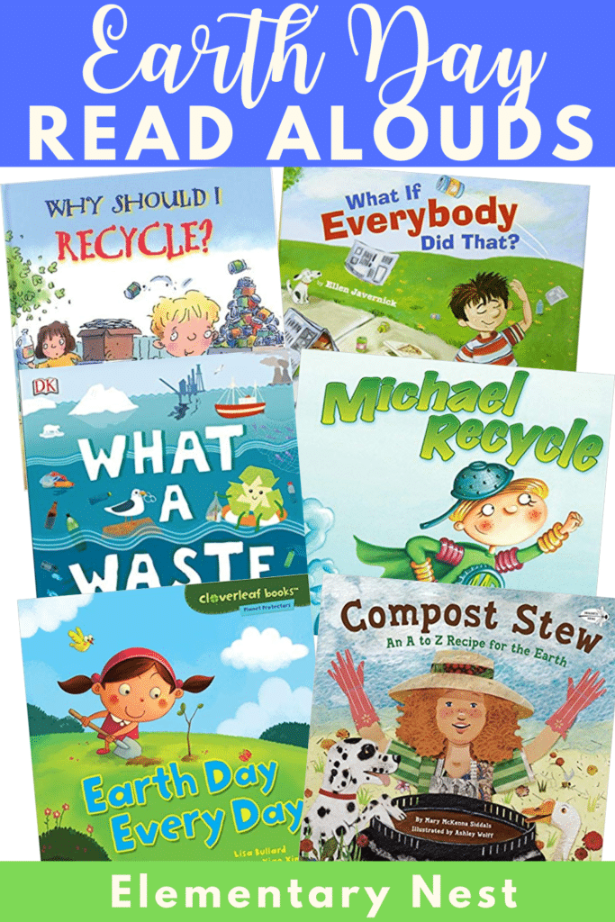 Collection of Earth Day books and reading activities