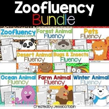 Fluency Passages Activities Bundle- Zoofluency