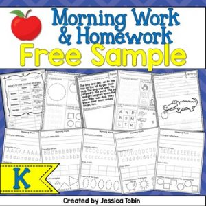 Free Kindergarten Morning Work/Homework Sample