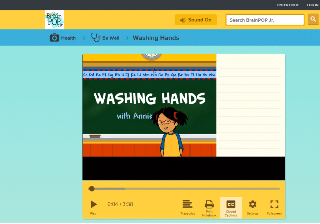 BrainPopJr. video for Washing Hands