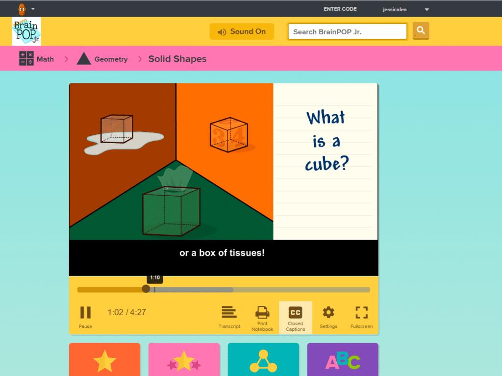 BrainPop Jr video about cubes