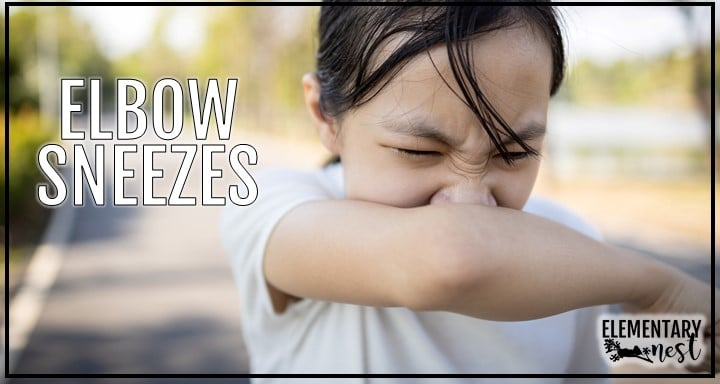 Girl sneezing into her elbow