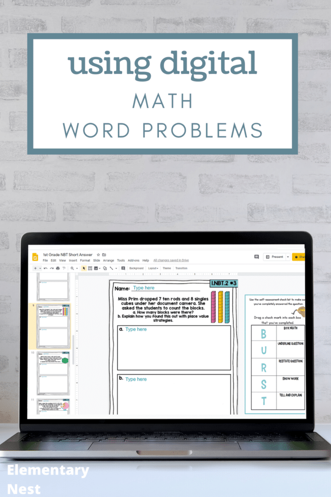 Digital math word problems on a laptop
