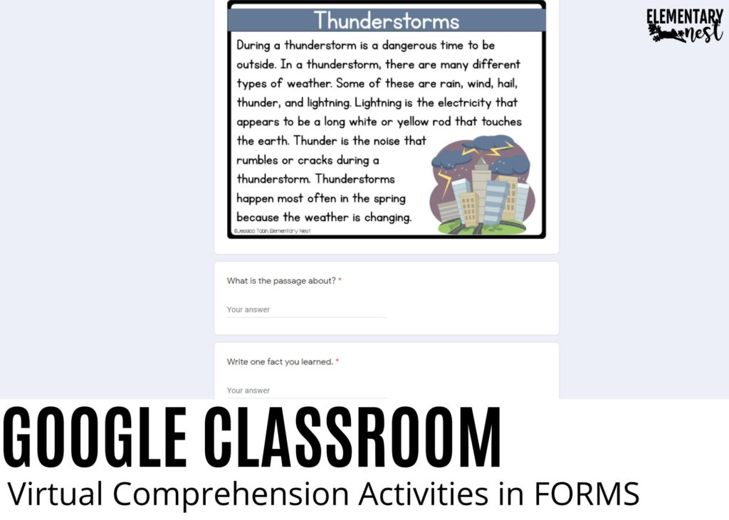 Google Classroom and Google Forms reading passage and comprehension activity