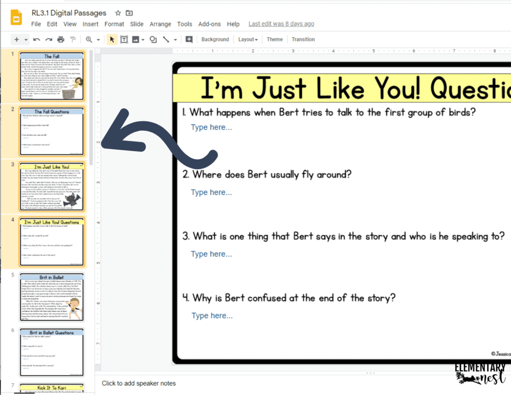 how to select 3-4 slides to share with students