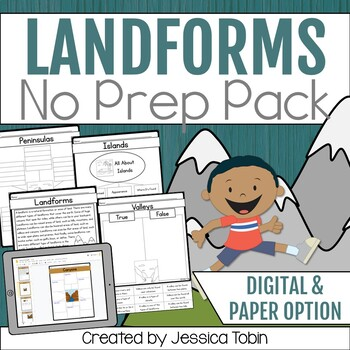 Landforms Worksheets with Distance Learning