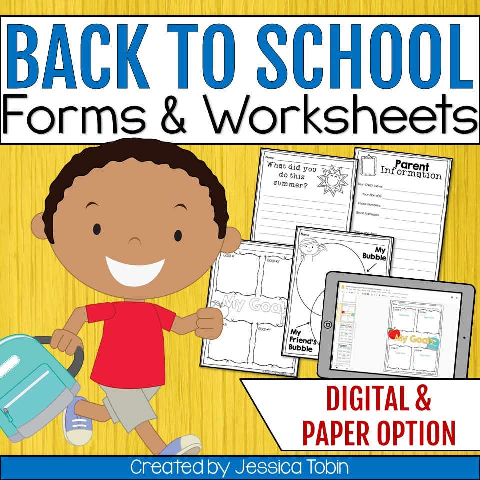 Back to school forms and worksheets